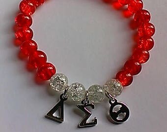 Delta Sigma Theta Greek Bracelet,stretch,women,red and white,sorority jewelry, charm bracelets,gift,inexpensive,sisters
