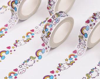 Rainbow Unicorns Washi Tape - Colourful Unicorn Themed Masking Tape