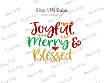 Christmas, joyful, Merry, Blessed, SVG, EPS, DXF, Digital file, Instant Download, Silhouette, Cricut
