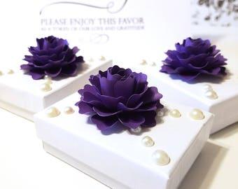 "Favor Box Toppers | 2"" Deep Purple Paper Flower (Set of 50) | Gift Topper | Gift Box Topper | Purple Wedding Decor"
