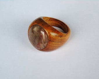 Wooden ring with apricot with a stone of the Valley of the Mosel Germany