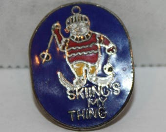 Vintage Skiing's My Thing old Enamel Pinback button pin hat lapel