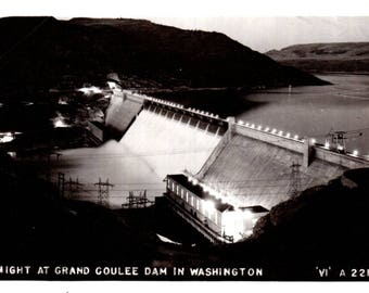 Grand Coulee Dam at Night, Washington RPPC Real Photo Postcard 1940's