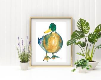 Framed Mallard Watercolour Print