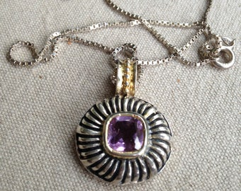 Silver Amethyst Pendant with Gold Trim and Sterling Box link chain