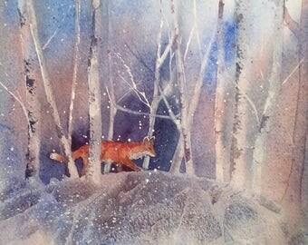Winter Fox original watercolour painting by Shari Hills