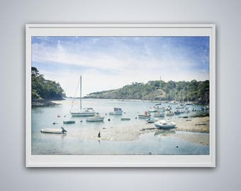 Ships in a small port, a beautiful port, a beautiful photo, a photo to be printed, effect watercolor, lounge photo wall art, decoration room