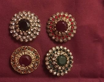 Group of Gold Snaps with Various Colored Rhinestones 18mm