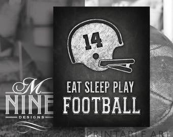 Custom Football Sign Decor | Chalkboard Football Printable Downloads | Eat Sleep Play Football | Chalk Football Helmet Signs FBC14