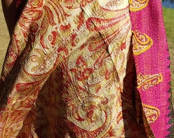Reversible Hand embroidered Indian Silk Kantha Stole