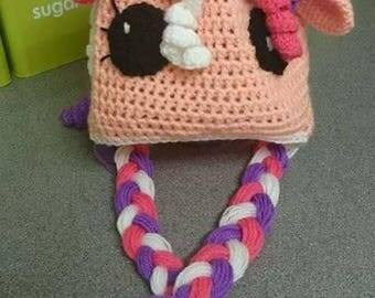 Pony style crochet winter hat
