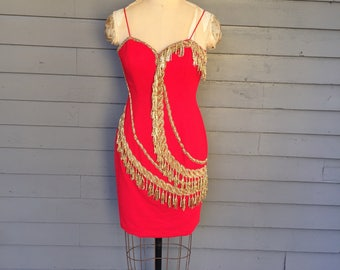 Red and Gold Circus Performer Looking Sweetheart Neckline Beaded Dress | Size Extra Small - Small | 1980's -1990's | Made by Nite Line