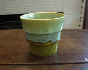 Caleramics Vintage Planting Pot – Earth Green and Aqua Blue Glaze – made in California USA  #1413 A