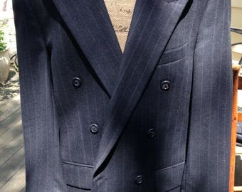 Finest Classic Burberrys' Super High End Double-Breasted Suit from Lord and Taylor, Heavy Winter Wool- small