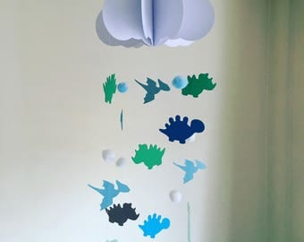 Baby Mobile - Dinosaur Baby Mobile, Cloud Mobile, Hanging Baby Mobile, Nursery Mobile, 3D Paper Mobile