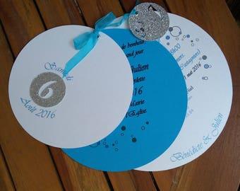 Turquoise white wedding invitation iridescent silver bubbles