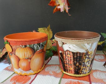 Set/2 Fall Autumn Clay Pot Photo Containers Orange Brown Pumpkins  Candy Corn Centerpiece Housewarming Gift Money Jar Candy Container