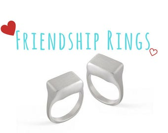 Friendship Silver Ring, BFF Christmas Gift, Statement 925 Sterling Silver Ring, Sisters Signet Ring, Minimalist Square Shaped Jewelry Design