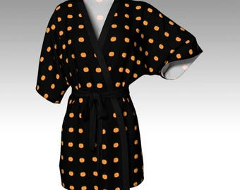 Pumpkin Robe, Halloween Robe, Orange Robe, Pumpkin Print, Costume Robe, Kimono Robe, Dressing Gown, Lounge Wear, Halloween Gift, Women Gift