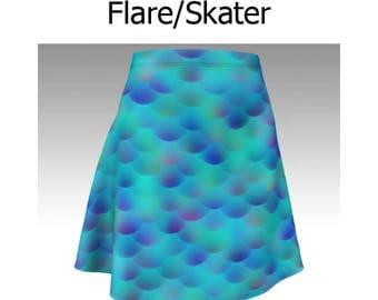 Mermaid Skirt, Blue Skirt, Mermaid Scales Skirt, Flare Skirt, Skater Skirt, Fitted Skirt, Bodycon Skirt, Cute Skirt, Short Skirt, Scalloped