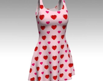 Valentine's Dress, Pink Dress, Flare Dress, Skater Dress, Fit and Flare Dress, Fitted Dress, Bodycon Dress, Valentine's Day, Heart Dress