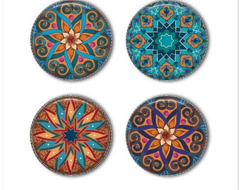 Mandala magnets or mandala pins, refrigerator magnets, office magnets, fridge magnets (2)