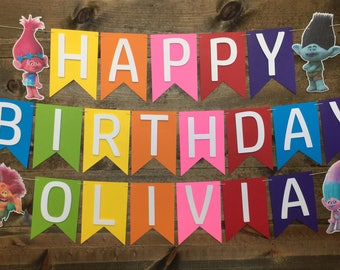 Trolls Banner | Poppy | Branch | Trolls Party Decor | Trolls Decorations | Poppy Banner | Branch Banner | Rainbow Banner |
