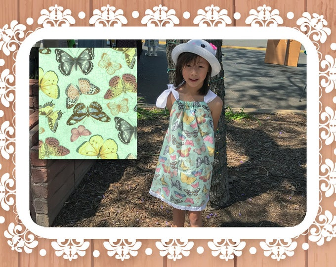 Featured listing image: Whimsical Butterflies Mint Cotton Summer Retro Peasant Dress, Drawstring Shoulder Bow Sundress, Toddlers Girls
