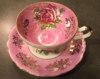 Vintage L M Royal Halsey Pink/Gold Tea Cup and Saucer Set! Scalloped Edge, Bone China, Very Fine.