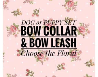 Set! Floral & Bow Dog or Puppy Collar w/ Leash