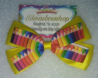 Colored Pencils hair bow