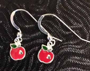 Sterling Silver Apple Earrings