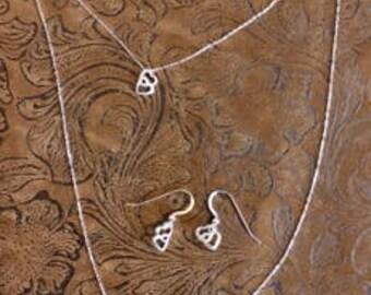 Sterling Silver Heart Necklace/Bracelet/Earring Set(Sold Separately)