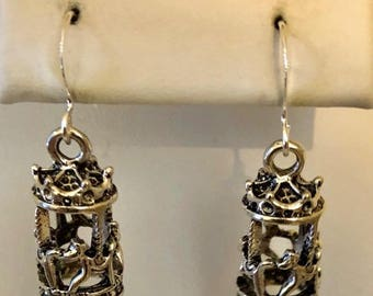 Antiqued Silver Filled Merry Go Round Carousel Horse Earrings