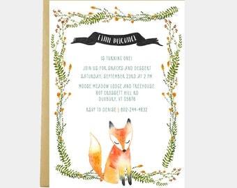 Fox Birthday Party, Baby Shower Invitation, Fox Invitation, Fox Birthday, Boy Girl Fox Birthday Invitation, Watercolor, Printable or Printed