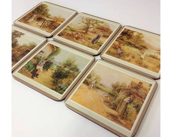 Pimpernel Satin Finish Coasters Set 6 'Country Life' Vintage Cork Backed High Quality Drink Coasters Country Scenes Home Decor