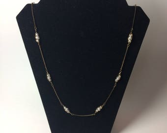 Vintage Gold colored Pearl Necklace