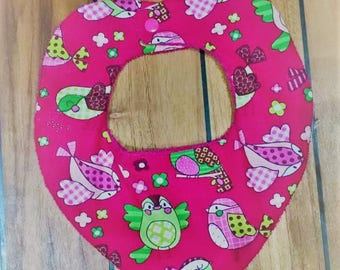 Pink Bandana bib with pretty bird.