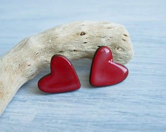 Red hearts earrings