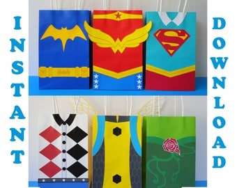 DC Super Hero Girls Party Favor Bags/ DC Superhero Girls Birthday Party/ Favors/ Goodie/ Goody/ Treat/ Candy/ Bags/ Decorations/ Supplies
