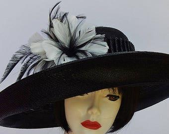Black Designer Hat-Feather Trim