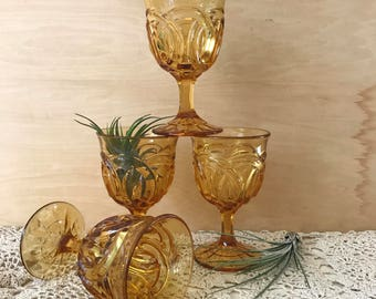 Set of Four Vintage Amber Goblets   L G Wright Double Ring Pattern  or Double Wedding Ring   Water Goblets   Wine Goblets  Colored Glassware
