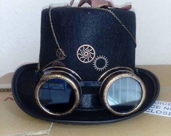 Gothic Steampunk Hut Hat Gotik Schwarz Zylinder Steampunk Goggles Size 57
