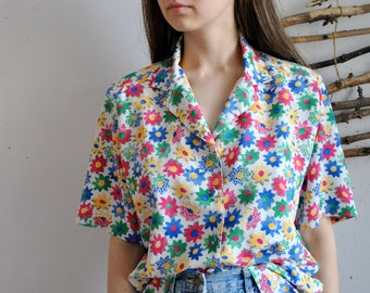 Flowers blouse 1990s 1980s vintage womens colorfull shirt