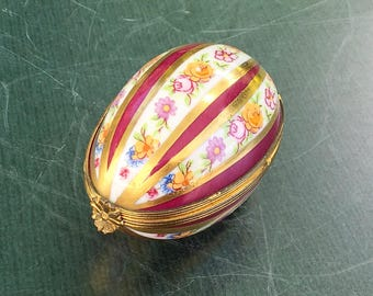 Egg shaped Limoges porcelain box by Dubarry,Red and gold striped box,Box with pink flowers; Collectible box