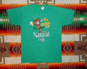 70s Get Your Irish Up With Natural Light Beer T Shirt Size Medium