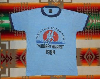 Heather Blue 1984 Wharf To Wharf  Santa Cruz To Capitola Ringer T Shirt