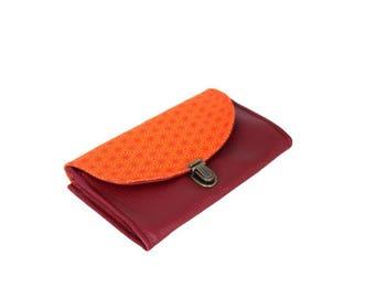 Wallet clasp Burgundy orange red bellows