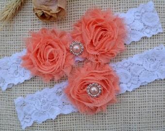 Wedding Garter, White Garter Set, Coral Bridal Clothing, Garter For Wedding, Garter For Brides, Lace Garter Coral, Garter, White Keep Garter