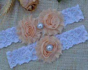Nude Garters, Flower Garters, Crystal Rhinestone Pearl, Stretch Lace Garter, Plus Size Garter, Beige Wedding Garter, Tan Bridal, Nude Garter
